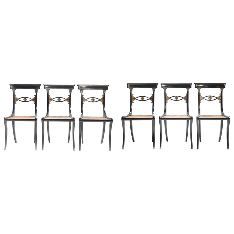 Set of Six French Ebonized Chairs Directoire Style, 1940s