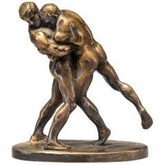 Okänd Konstnär, Swedish Patinated Bronze Sculpture of Wrestlers