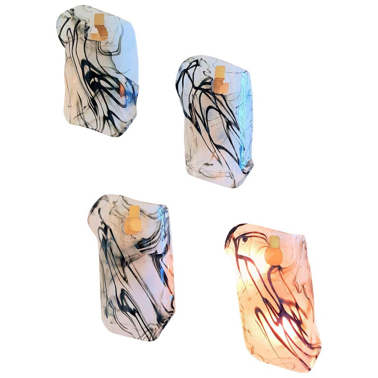 Two Pairs of Murano Glass Mid-Century Modern Wall Sconces, 1970s