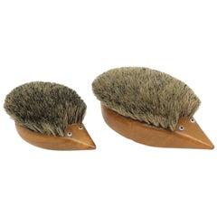 Two Hedgehog Brushes Teak Wood Danish Design, 1960s