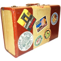 Luggage circa Mid-20th Century Woven Canvas on Wood, Leather with Voyage Labels