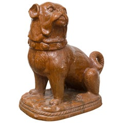 Late 19th Century German Pug Dog, Heavy Terracotta with Brown Carmel Color Glaze