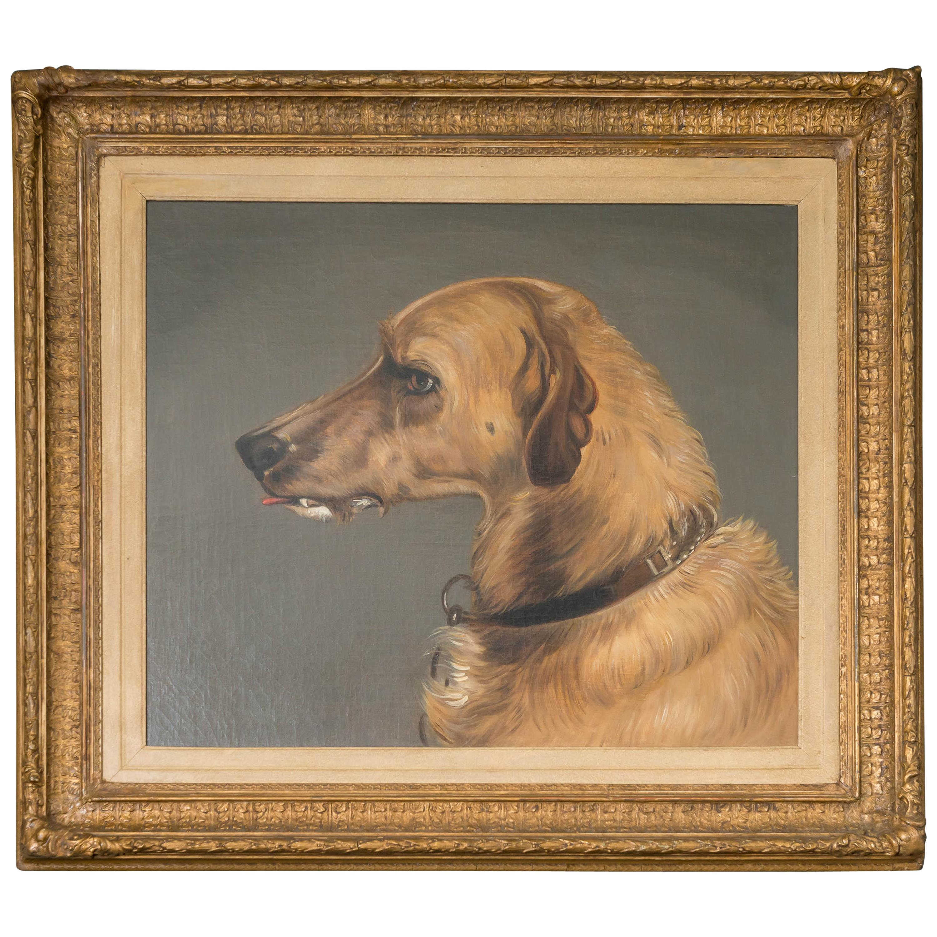 Fine 19th Century English Oil on Canvas Portrait of a Dog, after Edwin Landseer
