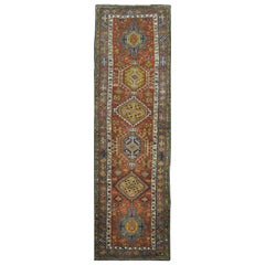 Antique Long Hand-Knotted Persian Heriz Runner Rug