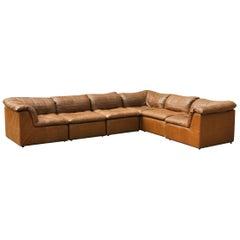 "Cognac Leather ""De Sede Style"" Patchwork Element Sofa Attrb. Laauser, Germany"