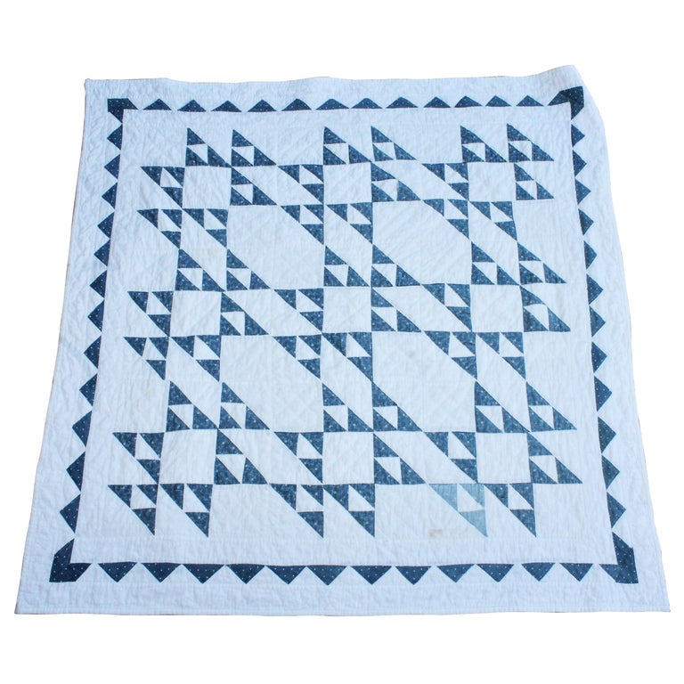 19th Century Blue and White Crib Quilt