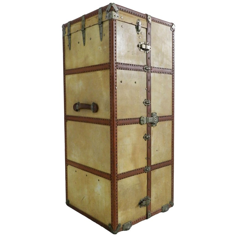 Steamer Trunk Wardrobe French Early 20th Century Louis Vuitton Style