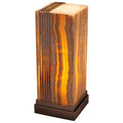 Studio Greytak 'Skyline Glo Table' Aragonite 'Onyx' and Aluminum Table/Lamp