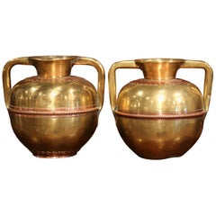 Pair of 19th Century French Copper and Brass Vases with Handles from Normandy