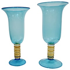 Formia 1970s Italian Set of 2 Aquamarine Amber Clear Murano Glass Vases on Foot