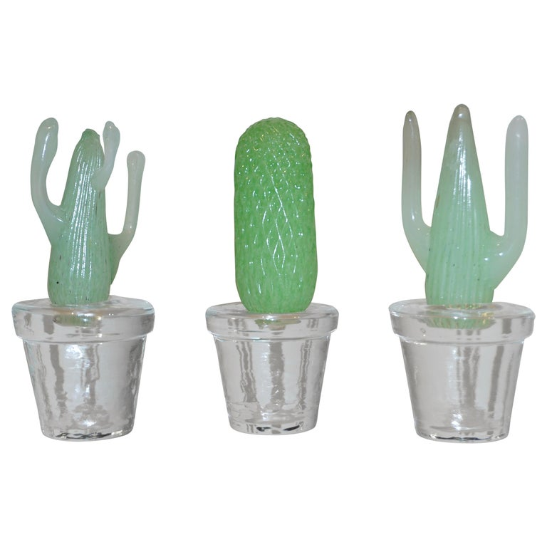 1990s Marta Marzotto Miniature Green Murano Glass Cactus Plants by Formia