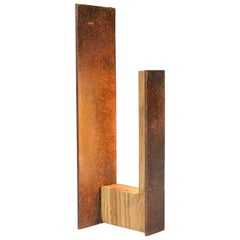 Rust, Modern Wooden and Oxidized-Steel LED Table Lamp