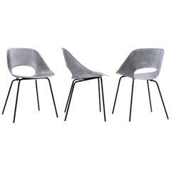 """Pierre Guariche """"Tonneau"""" Cast Aluminum Chairs, circa 1950s"""