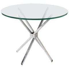 Polished Steel Table with Clear Glass Top, circa 1950