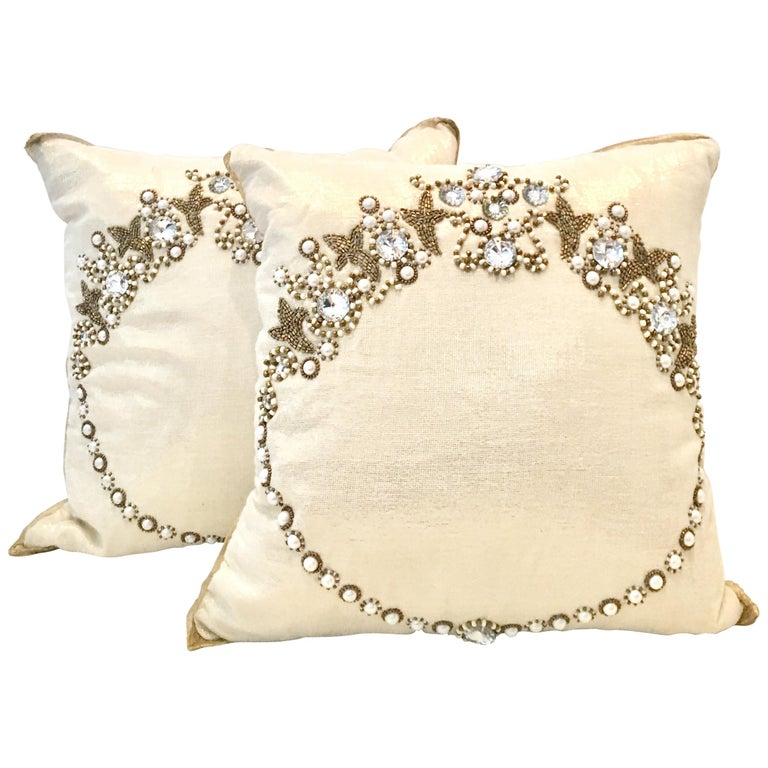 21st Century Pair Of Metallic Silk Hand Beaded Pillows