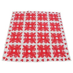 19th Century Red & White Quilt with Hearts Suround