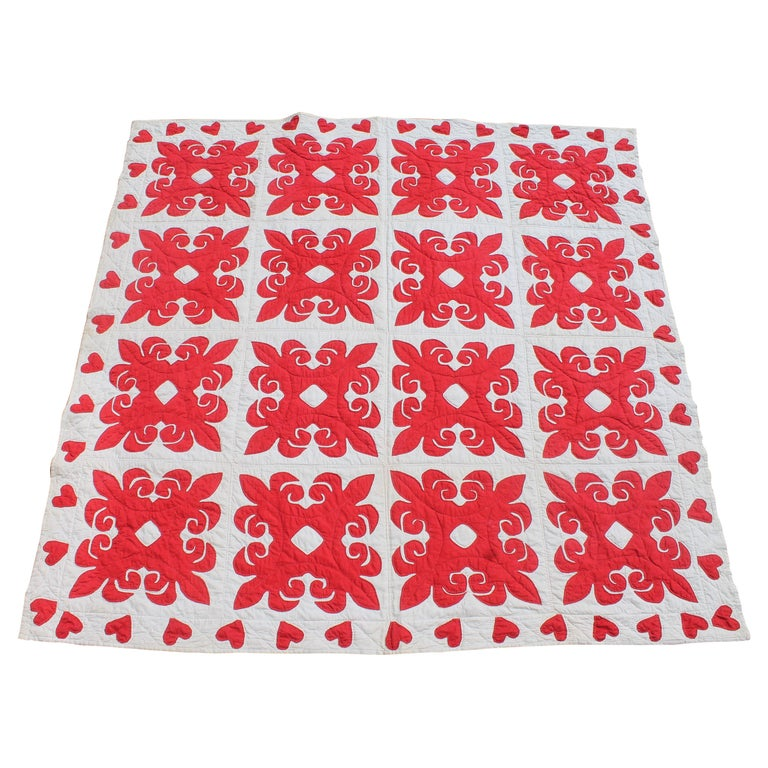 19th Century Red & White Quilt with Hearts Suround For Sale