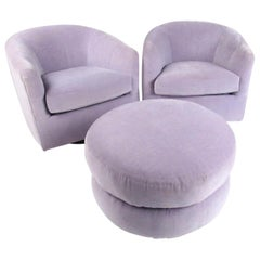 Pair of Vintage Swivel Club Chairs with Ottoman