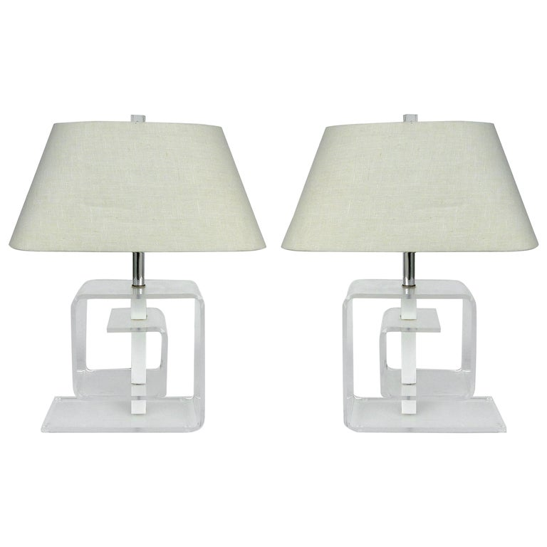 Mid-Century Modern Lucite Table Lamps, Pair