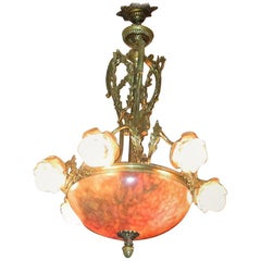 19th Century Large French Ormolu and Alabaster Chandelier