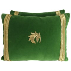 Metallic Embroidered Green Velvet Pillows, Pair