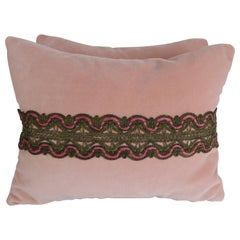 Metallic Lace Appliqued Pink Velvet Pillows, Pair