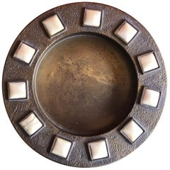 Midcentury Brass and Bone Dish / Ashtray