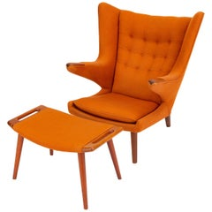 Hans Wegner Papa Bear Chair and Ottoman for A.P. Stolen