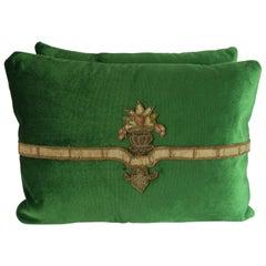 Green Velvet Applique Pillows, Pair
