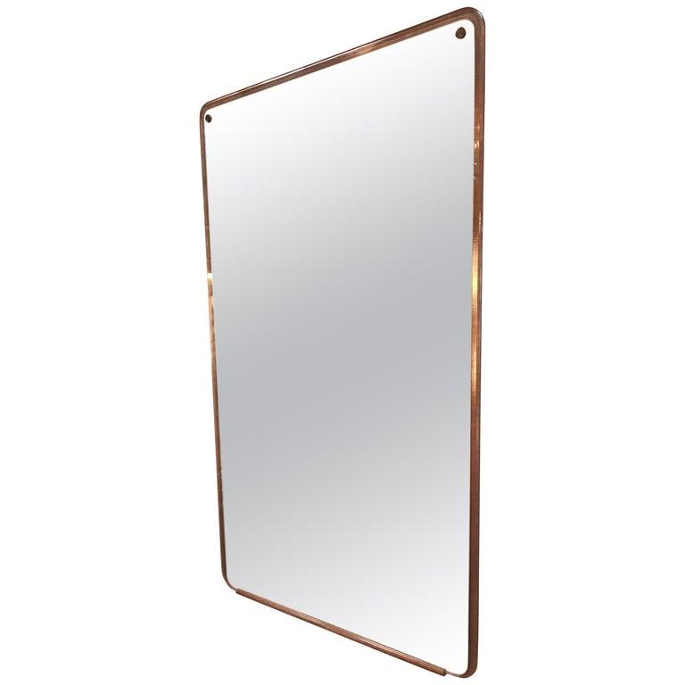 Italian Trapezoidal Midcentury Wood Wall Mirror, 1950s For Sale