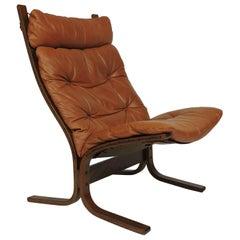 Ingmar Relling Westnofa Danish Modern Siesta High Back Sling Lounge Chair