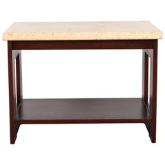 Cork and Mahogany Side Table Side Table by Paul Frankl