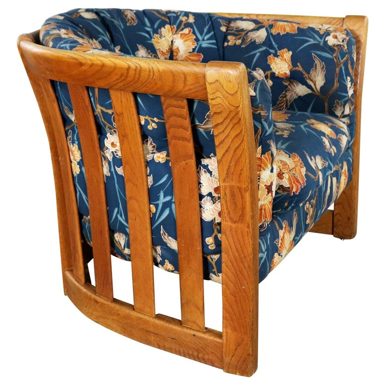 Oak Slatted Back Upholstered Barrel Lounge Chair, 1970s