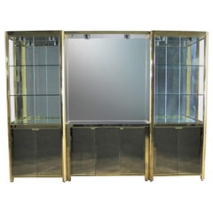 Modern Triple Lighted Vitrine Display Cabinet Brass Glass and Mirror Style Ello