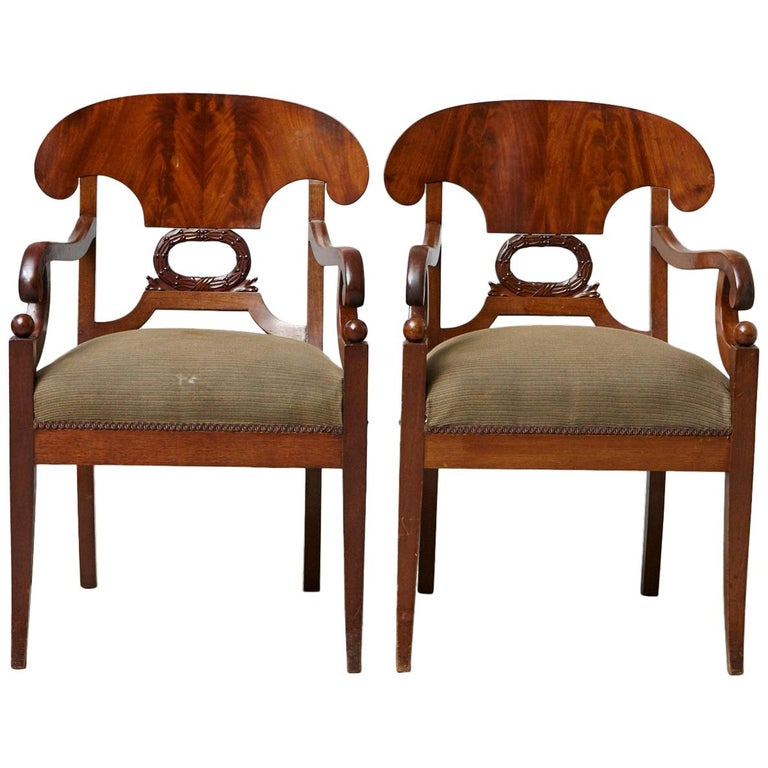 Late 19th Century Pair of Swedish Biedermeier Birch Wood Armchairs For Sale