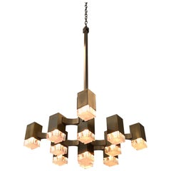 Italian Antique Brass and Acrylic Chandelier by Sciolari for Lightolier