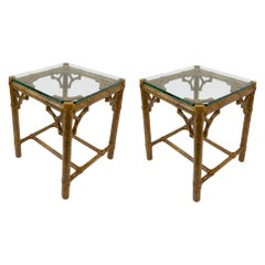 Pair of Bamboo and Glass Petite Side Tables by McGuire