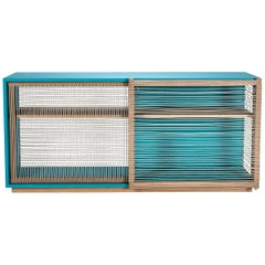 Sideboard Mediterraneo in lacquered wood and rope, made in Italy