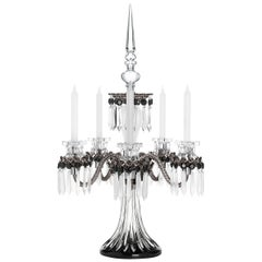 Saint-Louis Arlequin Five-Light Crystal Candelabra in Black with Satin Finish