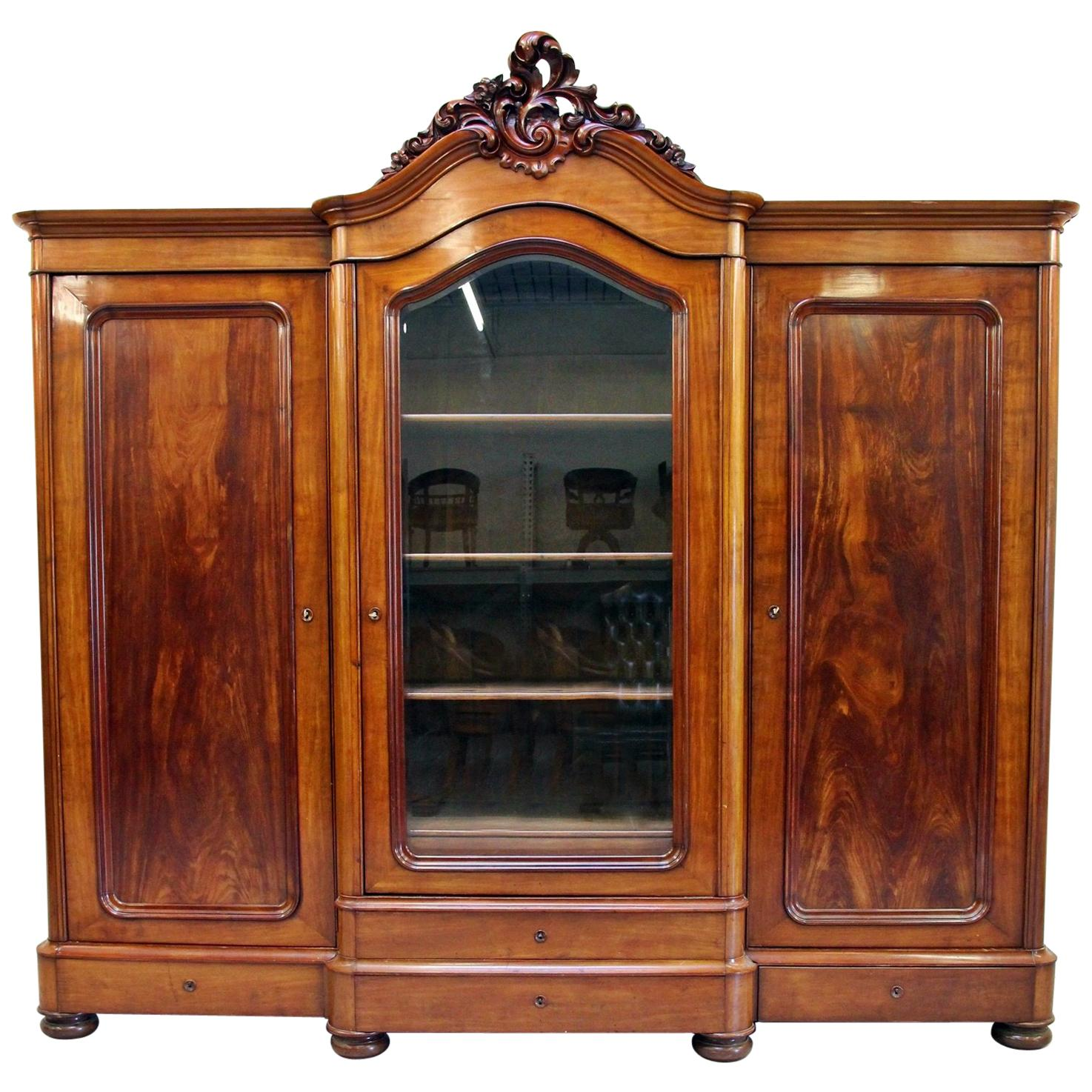 Wardrobe Bookcase Antique Baroque Cabinet Showcase Extra Large For Sale