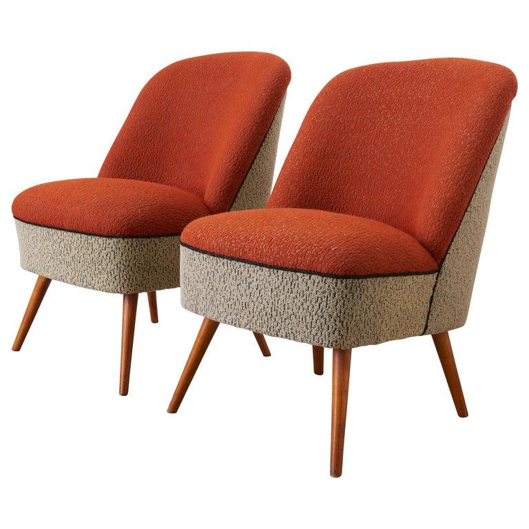 Pair 1950s Cocktail Club Chairs, Switzerland