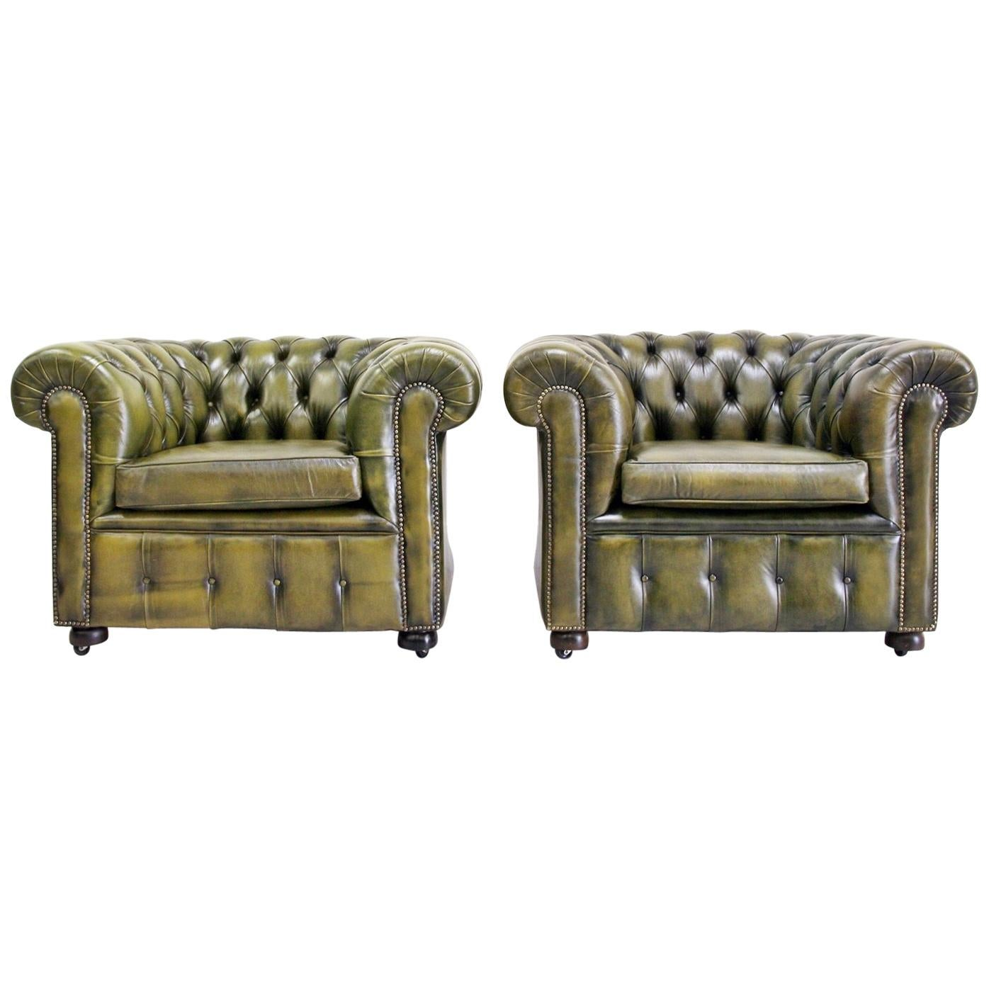 Two Chesterfield Club Armchair Leather English Armchair Baroque Antique For  Sale