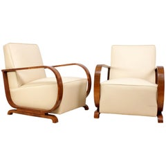 Art Deco Armchairs in Walnut and Leather, circa 1930