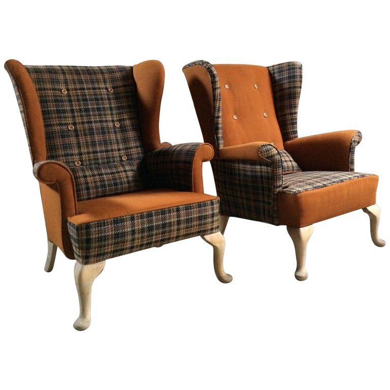 Fabulous Armchairs Pair the Thunderbird Parker Knoll Fireside Wing Chair Bespoke For Sale