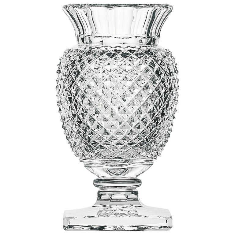 Saint Louis Medicis Decorative Small Crystal Vase With Engraved