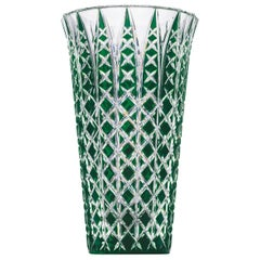 Saint-Louis Jaipur Green Double-Layered Crystal Vase with Engraved Detail