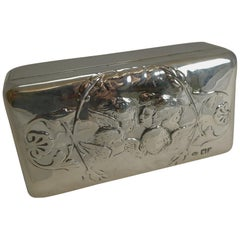 Antique English Sterling Silver Jewellery Box, Reynold's Angels, 1901