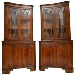 Pair of Antique Georgian Style Mahogany Corner Cabinets