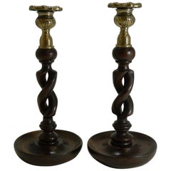 Pair of Antique English Oak Open Barley Twist Candlesticks, Brass Thistle Tops