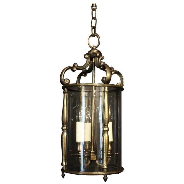 French 19th Century Bronze Triple Light Antique Lantern